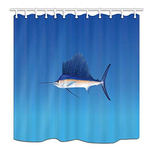 MMPTN Wildtier Badvorhang Marine Wildlife Swordfish Gegen Blauen Hintergrund Polyestergewebe Wasserdichte Dusche Vorhang für Badezimmer 71X71in Duschvorhänge Haken enthalten -