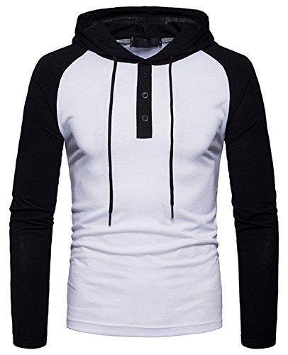 Whatlees Herren Urban Basic Raglan Langarm T-Shirt Kapuzenpullover mit Henley kragen und Kapuze B923-White-L (Diesel-baumwoll-jersey)