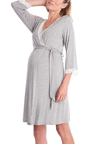 18693e342d67 Lomon Vestito Premaman da Donna Camicia da Notte per Allattamento Camicia  da Notte Pigiama