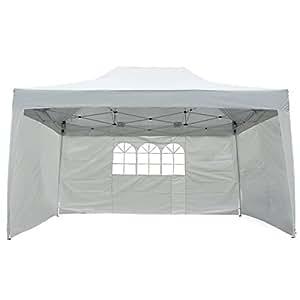 Outsunny Tonnelle Barnum Pliant Tente de Réception Anti-UV 3 Côtés Amovibles Sac de Transport 4.5 x 3 x 3.2m Blanc