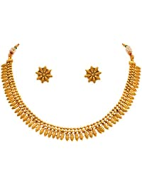 Jfl - Jewellery For Less Traditional One Gram Gold Plated Necklace Set With Earrings For Women & Girls