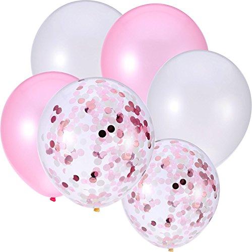 Jovitec 30 Piezas 12 Pulgadas de Globos de Látex Globos con Confeti para Decoración de Fiesta de Boda Cumpleaños (Blanco y Rosa)