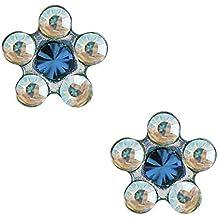 Studex pequeño consejos 5mm de cristal AB y aguamarina margarita Childrens hipoalergénico Stud Pendientes de acero inoxidable