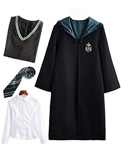 Kostüm Slytherin Baby - Fanessy. Kinder Erwachsene Umhang Kostüm Für Harry Potter,Fancy Dress Cosplay Outfit Set Zauberstab Krawatte Schal Brille Hut Hemd Rock Karneval Verkleidung Fasching Halloween 105-185