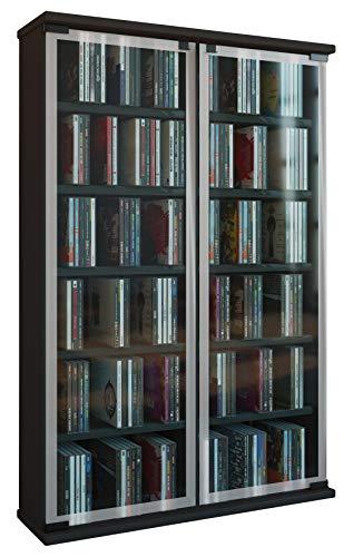 """VCM Regal DVD CD Rack Medienregal Medienschrank Aufbewahrung Holzregal Standregal Schrank Möbel Schwarz """"Galerie"""""""