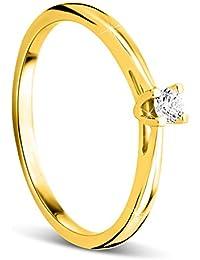 Orovi anillo de mujer solitario 0.07 Quilates diamantes en oro amarillo 9 kilates ley 375
