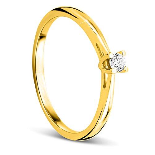 Orovi Anello Donna Solitario con Diamante taglio b...
