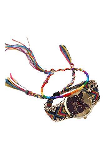 Reloj - SODIAL(R)Reloj de pulsera de cuarzo analogico de algodon de patron de gato etnica de punto de DIY para mujeres de modo 11