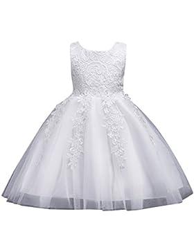 5d341b2c8c4b Ragazze Pizzo Tulle Vestito Lungo Bambina Elegante Principessa Abito  Cerimonia Abiti da Sera Matrimonio