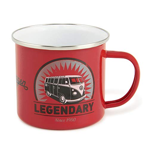 VW Collection by BRISA VW T1 Combi Mug Émaillé 500ml - Vintage Logo/Rouge