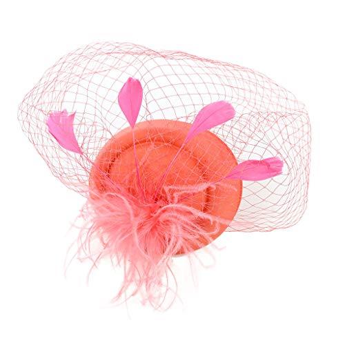 CANDLLY Stirnband Damen, Kopfbedeckung Zubehör Kopfschmuck Federn der Frauen Fascinators Hut Haarnadel Cocktail Headwear Pillbox Hut(Orange,One Size