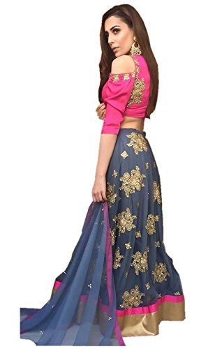 Surat4fashion Womens's Blue silk Semi-stitched Bridal Lehengas cholis(Blue_Freesize)