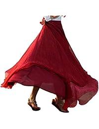 Lenfesh_Vestidos Falda para Mujer,Lenfesh Falda Tul Mujer Midi Falda Largo de Playa elástico Cintura Alta de Gasa de Midi Maxi Falda Plisada con Cintura Elástica para Mujeres