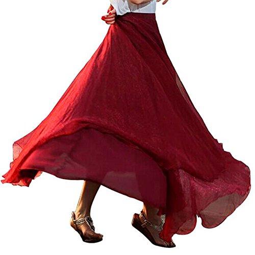 Damen Elastische Hoher Taille Chiffon Lange Maxi Strandkleid Chiffon Maxikleid und Raffung Freizeit Leistung Tanzen Traditionell Lange Ballon Rock ()