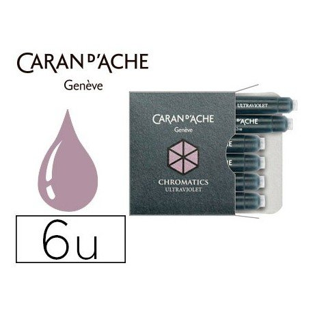 Pk/6 Caran d'Ache Chromatics Fountain Pen Ink Cartridges, Ultraviolet by Caran d'Ache