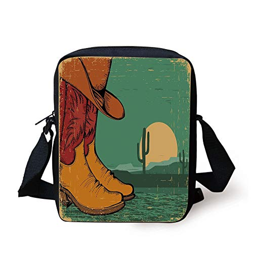 Girls Boot Bag (Western,Desert Landscape Vintage Boots and Hat Grungy Old Display Cowboy Decorative,Jade Green Ruby Earth Yellow Print Kids Crossbody Messenger Bag Purse)