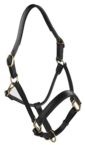 REAL LEATHER FULLY SOFT PADDED HORSE HEAD COLLAR IN BLACK COLOR (PONY)