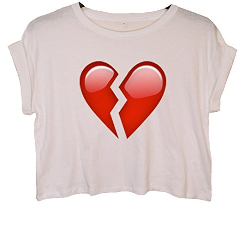 Broken Heart Emoji Crop Top Weiß