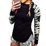 QIYUN.Z Femmes Camouflage Manches Longues Manches T-Shirt Casual Noir Tops ...