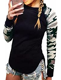 QIYUN.Z Femmes Camouflage Manches Longues Manches T-Shirt Casual Noir Tops Blouses Tee-Shirts