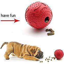 Bola del juguete del perro de animal doméstico, NNIUK que alimenta la diversión que entrena el limpiador de los dientes del caucho natural trata la bola que mastica el juguete para el ejercicio, la alimentación y la diversión.