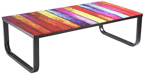 Soliving ELVY Table Basse Plateau, Verre, Multicolore, 105 x 32 x 55 cm