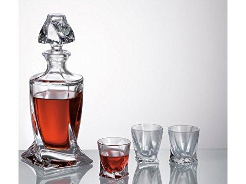 QUADRO Dekanter Set 500ml mit 6Kristall Shot Wodka Gläser 55ml in Geschenkverpackung - Crystal Shot Glas Set