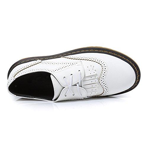 Smilun Damen Brogue Klassisch Schnürhalbschuhe Flach Rund Toe Loafer Weiß