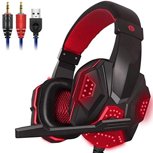 OPmeA Stereo-Gaming-Headset für Xbox One PS4-PC-Surround-Sound-Kopfhörer mit Mikrofon mit Noise Cancelling-LED-Leuchten Headset (Farbe : Rot) (Razor Surround-sound)