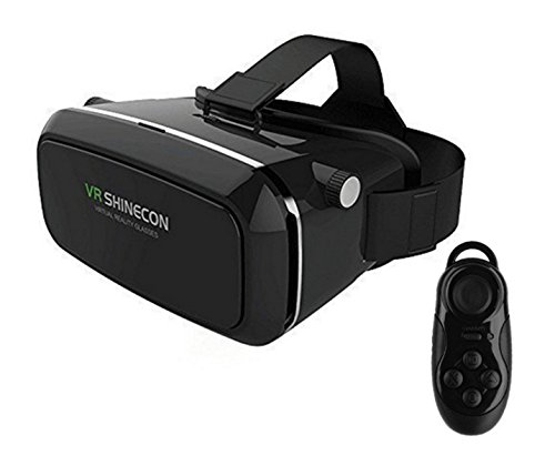 Preisvergleich Produktbild 2016 VR Shinecon Plastic VR 3D Brille HD für 3.5-6.0 inch Handy und Wireless Bluetooth Fernbedienung