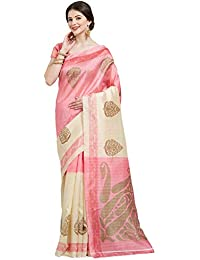Kalinda Bhagalpuri Silk Traditional Printed Saree with Blouse Piece (Pink & Cream)