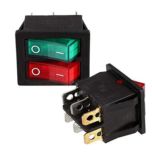 Wippschalter 6 Pins SPST I/O Rocker-Boot-Schalter 6 Pin Rot Grün Licht beleuchtet Doppel 6 Pin Rot Grün-Taste (Color : Grün Rot, Size : -) - Polyester-rocker
