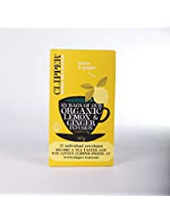 Clipper Tea- Herbal Infusion - Organic Lemon & Ginger Enveloped Infusion - 25 Bags (Case of 6)