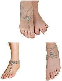 Femnmas Silver Color Alloy COMBO OFFER Flower Toe Ring Anklet ( 3 PAIRS) For Women & Girls