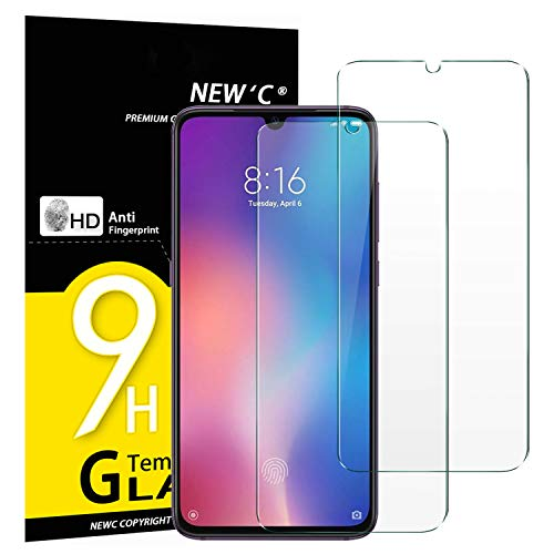 NEW'C Pack de 2 Verre Trempé pour Xiaomi Mi 9, Mi 9 Pro, Xiaomi CC9, Film Protection écran - Anti Rayures - sans Bulles d'air -Ultra Résistant (0,33mm HD Ultra Transparent) Dureté 9H Glass