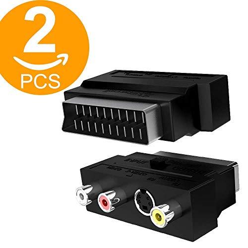 Act 2 Pack Scart Adapter 3x Cinch Buchsen in/out Umschalter und S-Video / S-VHS AV Audio, Video Adapter - Scart RCA Konverter mit vergoldeten Steckverbindern Plated S-video