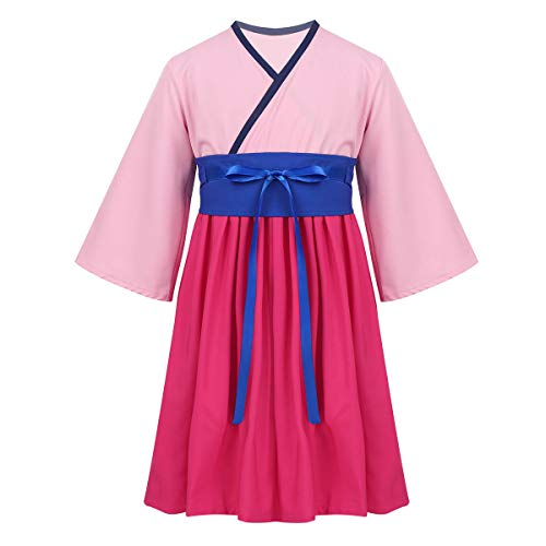 Yizyif eroina cinese stile retro vintage halloween vestito da principessa tradizionale cinese antico guerriera cinese costume da supereroe femminile dress up cosplay rosa 2-3 anni