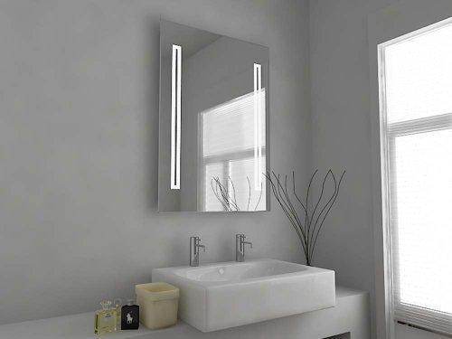 C33D Badezimmerspiegel, mit Beleuchtung und Sensor, Demister und Rasiersteckdose, klares Glas, 700x500°mm