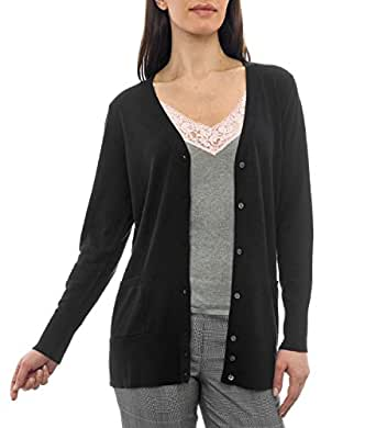Wool Overs Women's Silk & Cotton Classic Long V Neck Cardigan Black Small