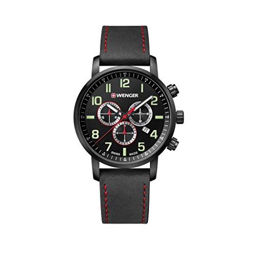 WENGER Reloj Cronógrafo para Unisex de Cuarzo con Correa en Cuero 01.1543.104