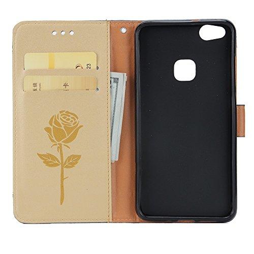 EKINHUI Case Cover Dual Color Matching Premium PU Leder Flip Stand Case Cover mit Card Cash Slots und Lanyard für Huawei P10 Lite ( Color : White ) Gold