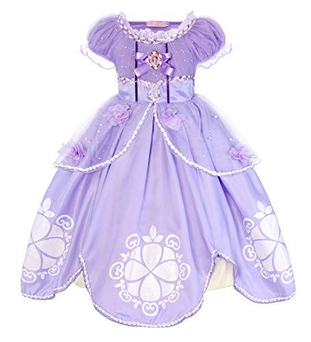 Sofia Kostüm Kleid Kinder Mädchen Verkleidung Party Schick Kleider Halloween Karneval Cosplay Geburtstag Ankleiden Zeremonie Festzug Kleidung Abendkleid, Lila 02, 5-6 Jahre ()