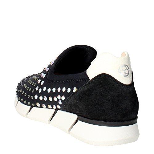Florens F1330 Slip-on Chaussures Femme Suède/nylon Noir