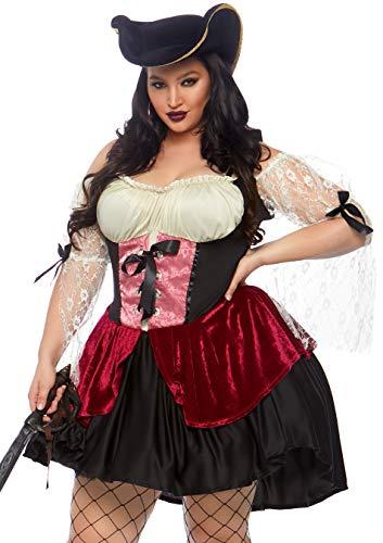 Leg Avenue 85157X - Wicked Wench Kostüm Set, Übergröße 46, (Pirat Für Erwachsene Kostüm Plus)