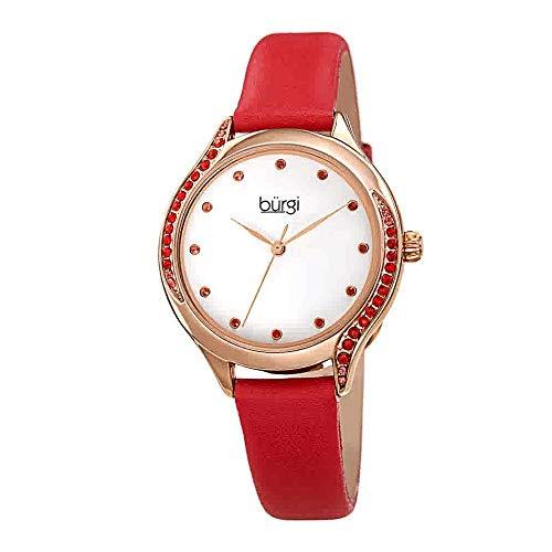 Burgi BUR239 Damenuhr mit Swarovski-Kristallen, Skinny Armband aus echtem Leder - Nieten Lünette und Zifferblatt mit geprägtem Muster - Japanischer Quarz (rot) - Skinny Armband