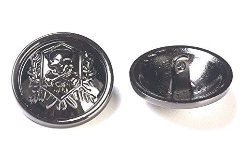 Bastel Express 5 Botones de Metal con Escudo de Calavera, 23 mm,...