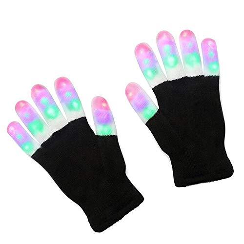 TYXWZL Party Rave LED Blinkhandschuhe Glow Light Up Finger Lighting Halloween Handschuhe, Kinder Glitter Handschuhe,Adultcolorful