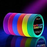 Neon Tape [6 Rollos] Cinta Adhesiva,UV Fluorescente Luz Negra, Neón Gaffer Tape, Glow In The Dark, Blacklight, 6 Colores, 25MM*15M Por Rollo, Para Sum