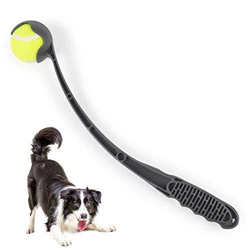 Pawaca Ballschleuder Für Hunde 18'' Langer Griff Tennisball Werfer Und Ball Set Für Hund Haustier Outdoor Interaktive Spieltraining Spielzeug(Grau)