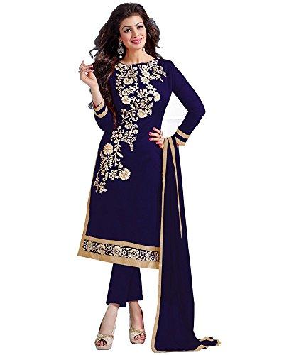 Krizel Women's Silk Salwar Suit Dress Material (Dreamgirl5307F_Blue)